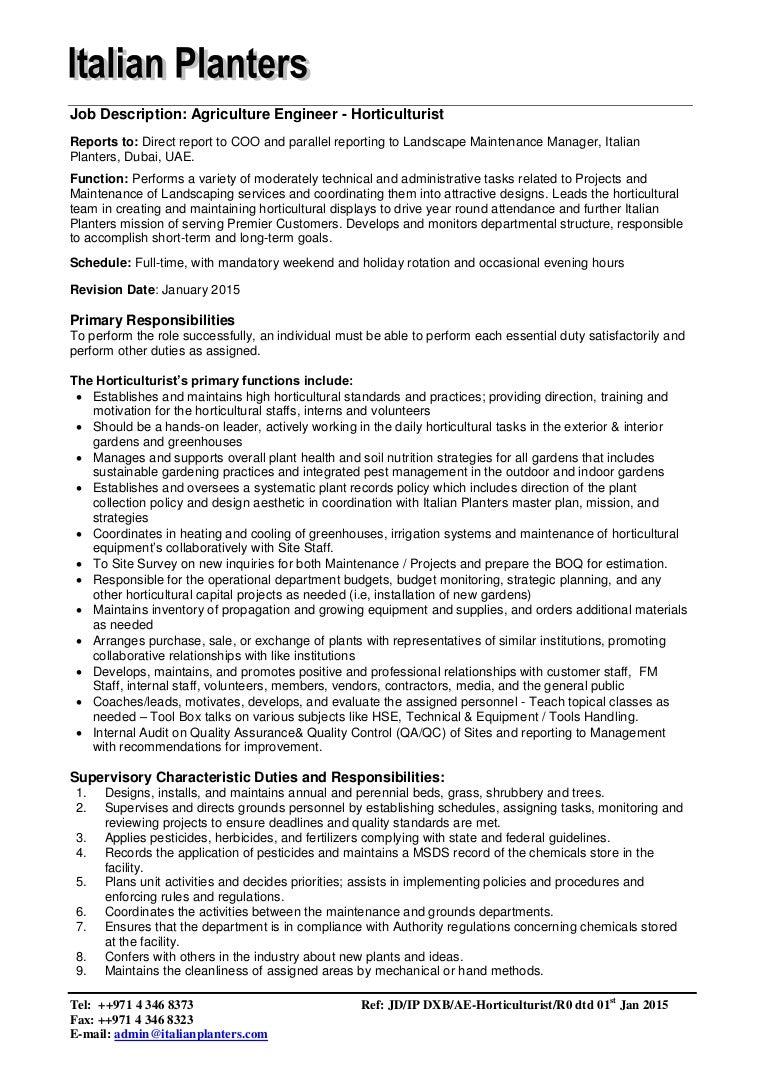 job description agriculture engineer holticulturist