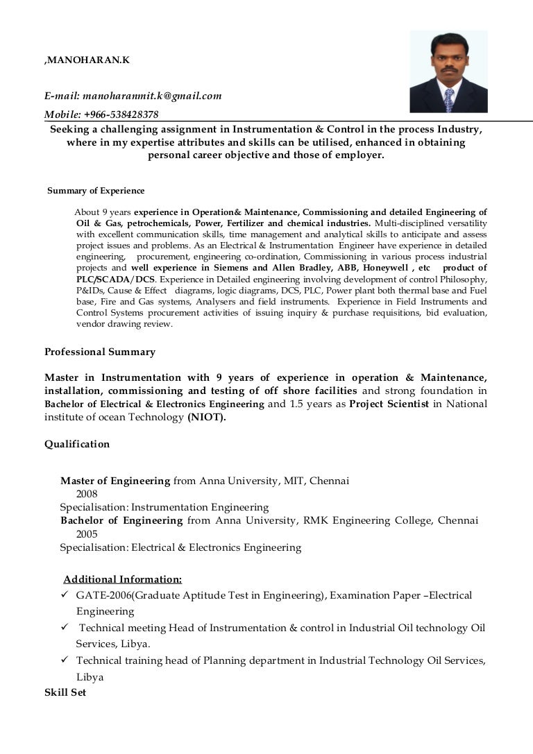 Resume Maintenance Industrial Electrical Training Control