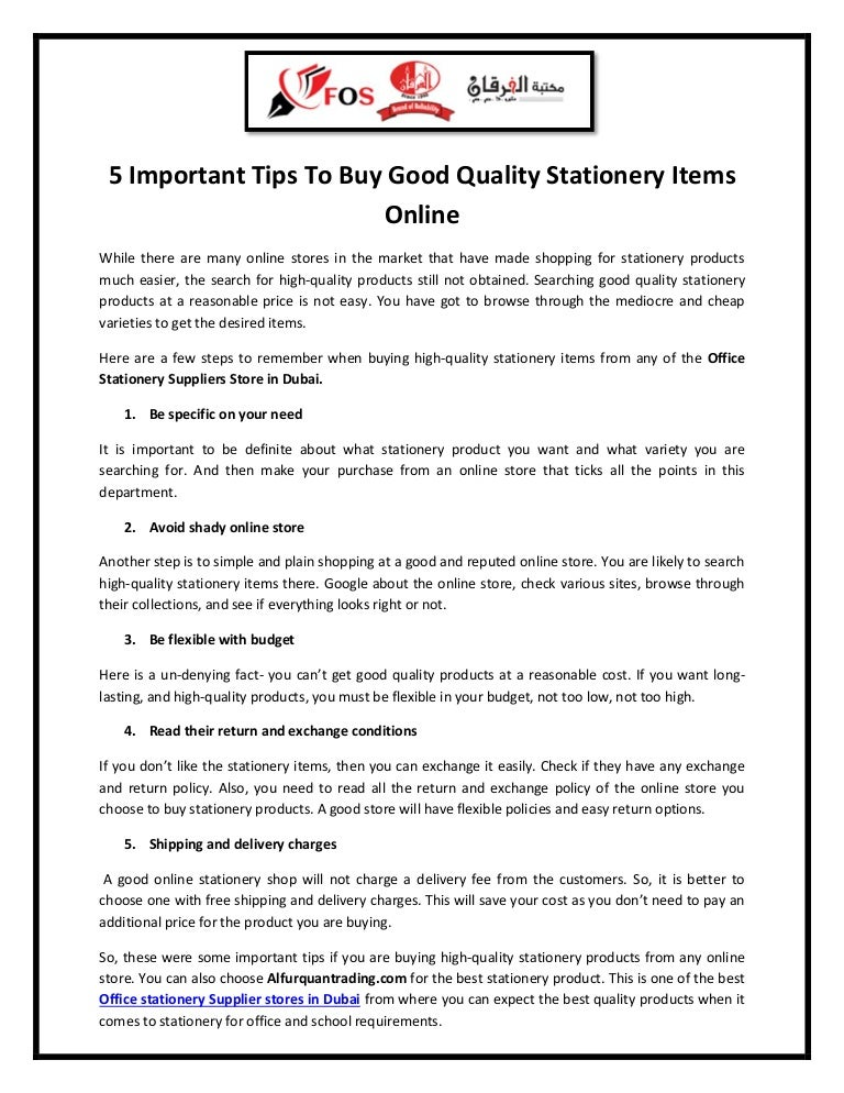 5 important tips to buy good quality stationery items online
