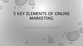 5 Key Elements of Online Marketing by White Rapids Marketing Seo Company with offices in Boise Idaho, Caldwell Idaho, and Salt Lake City Utah