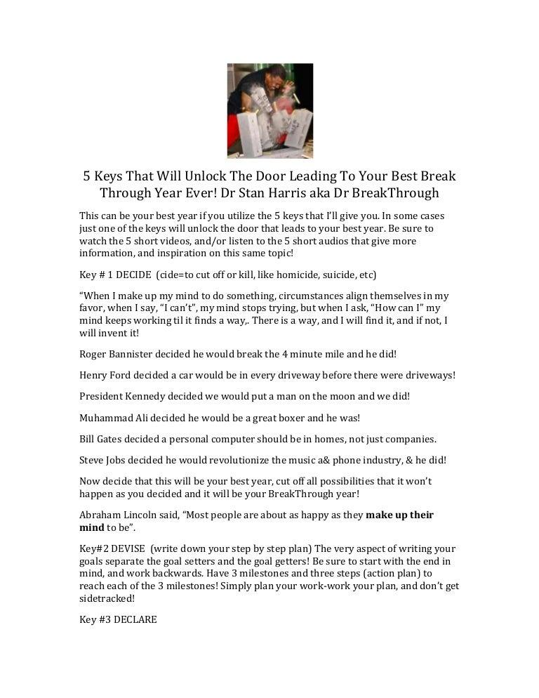5 keys to unlock the door leading to your breakthrough year!