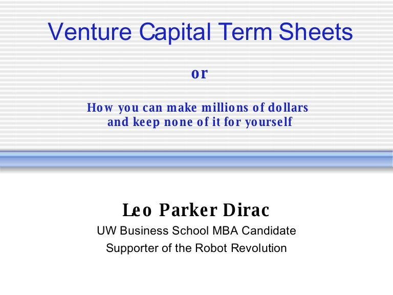 Minute Primer On Vc Term Sheets