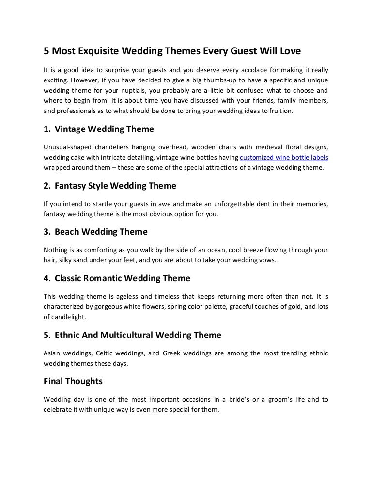 5 Most Exquisite Wedding Themes Every Guest Will Love