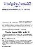 5 must dos for under 30 ceos the young ceo  ronn torossian