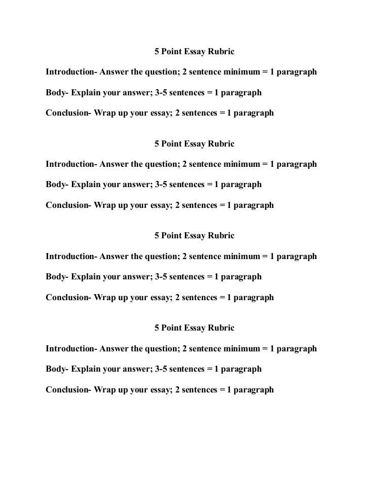 five paragraph essay rubric