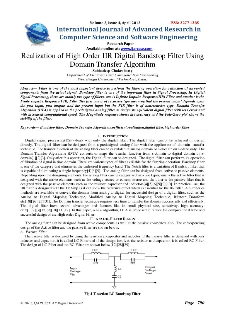 Realization Of High Order Iir Digital Bandstop Filter Using Domain Tr Passive Band Stop Public Circuit Online Simulator