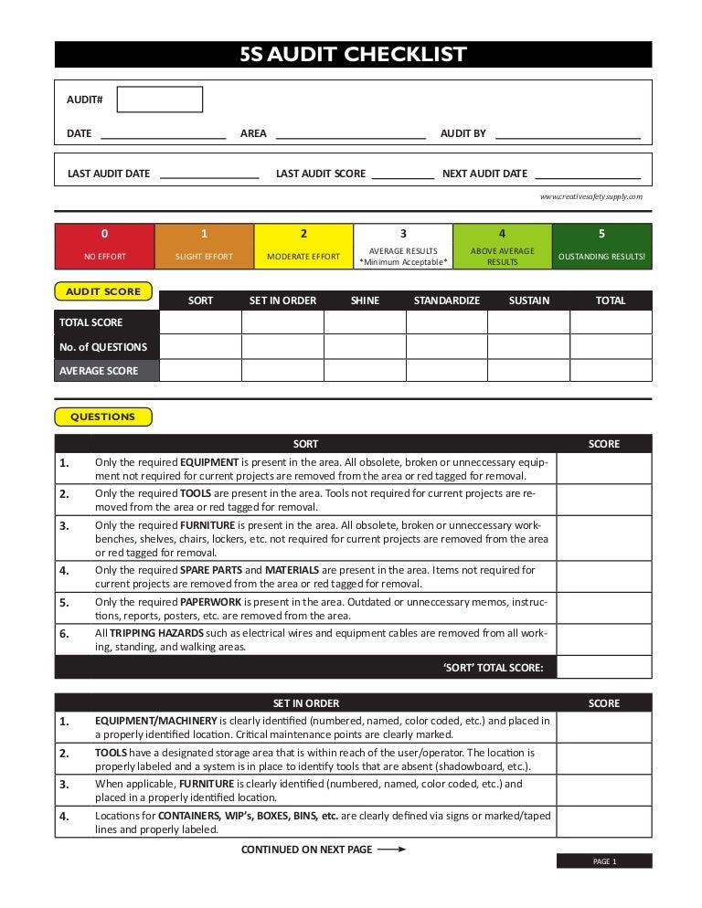 5s audit checklist. Black Bedroom Furniture Sets. Home Design Ideas