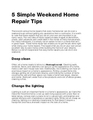 5 simple weekend home repair tips