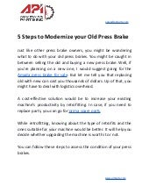 5 steps to modernize your old press brake