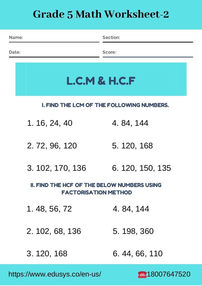 - 5th Grade Math Worksheet Free Pdf Printable