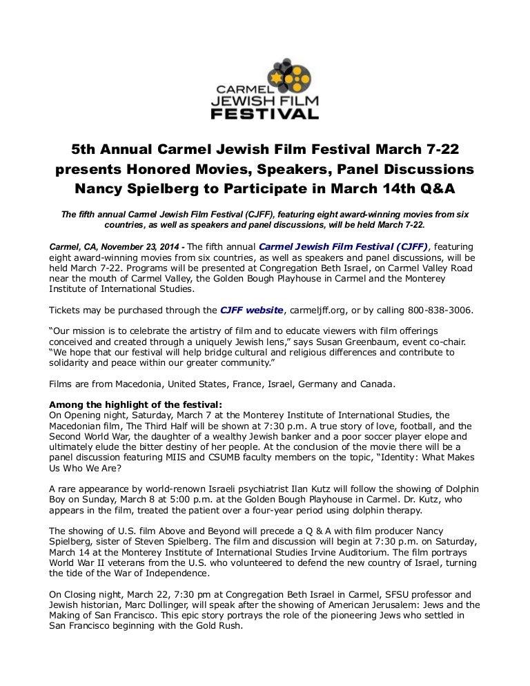 5th annual carmel jewish film festival march 7 22 presents honored mo…