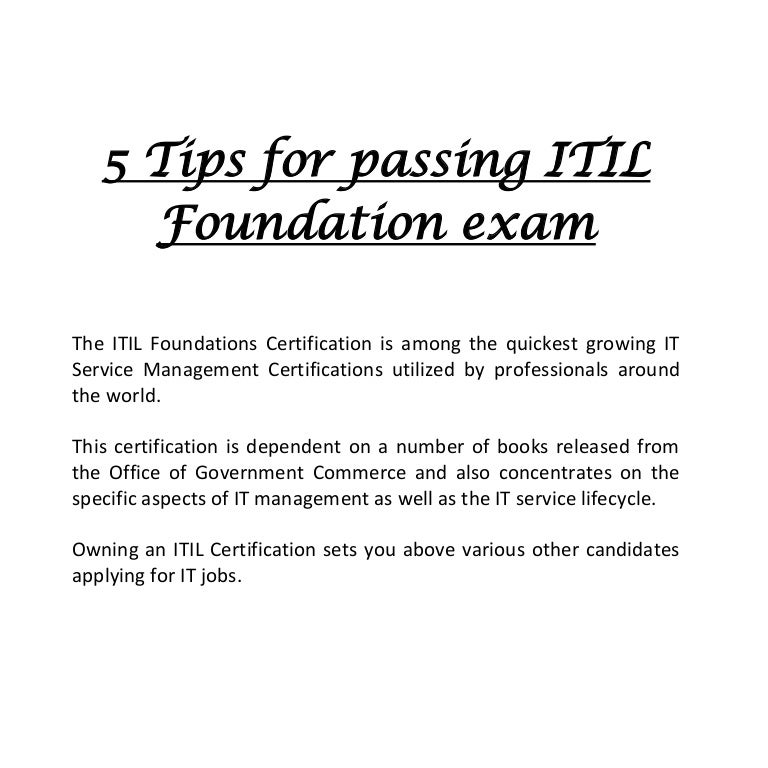 5 Tips For Passing Itil Foundation Exam