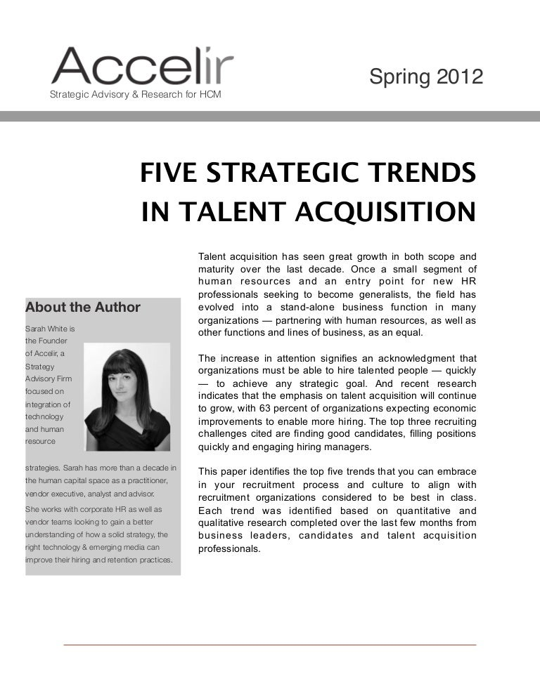5 Strategic Trends in Talent Acquisition for 2012, 2013 and beyond