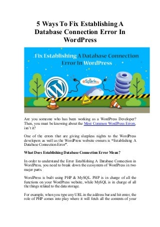 Wanna Fix Database Connection Error In WordPress? Follow These Tips