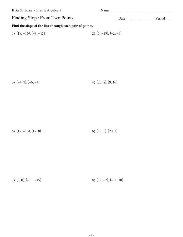 Fillable Online Algebra I Point-Slope Form Worksheet - Moore ...