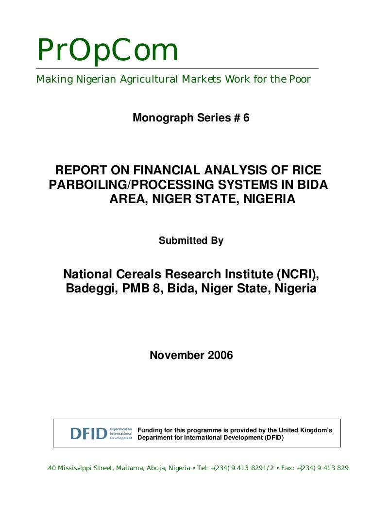 6 Financial Analysis Of Rice Parboiling Processing Systems In Bida 11 Process Flow Diagram Mill