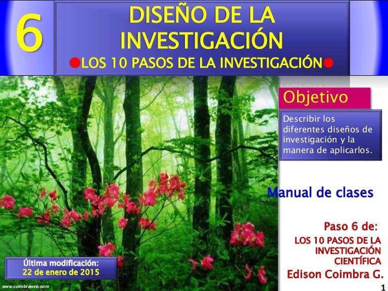6.Diseño de la investigación. Los 10 pasos de la Investigacion