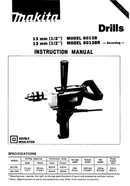 Makita 6013BR Spade Hammer Drill Instruction Manual on