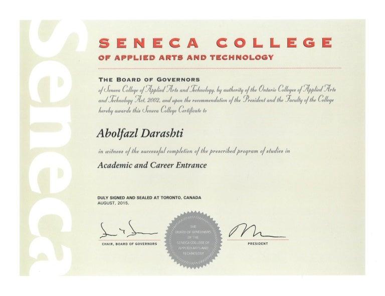 Certificate Seneca