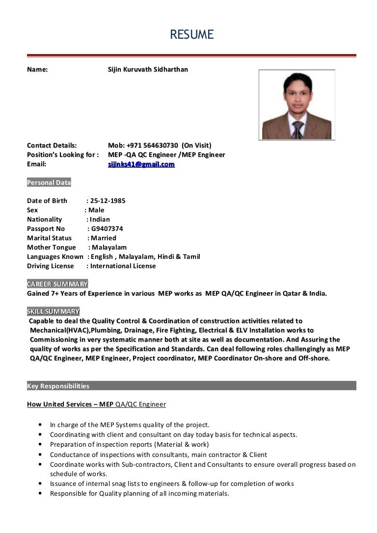 Mep Qa Qc Engineer Resume