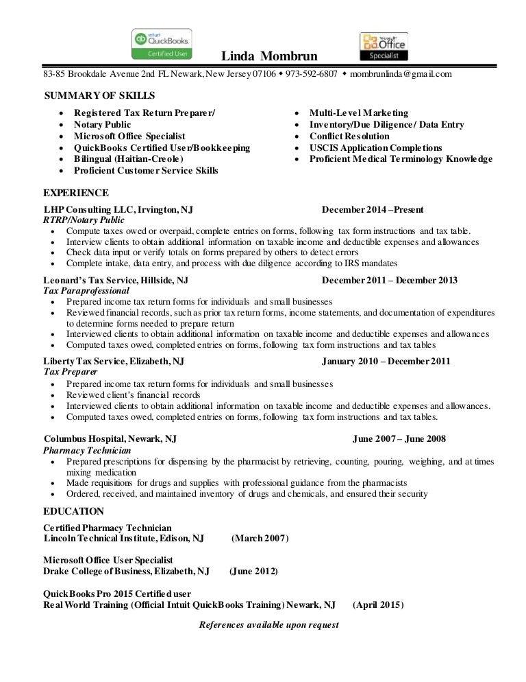 Linda Mombrun Resume