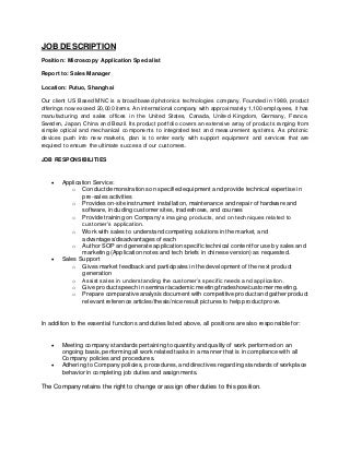 Application Specialist Sample Resume