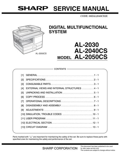 61168147 manual de servicio sharp al 2030 2040cs 2050cs rh slideshare net manual de servicio sharp al 2050cs manual de partes sharp al 2050cs