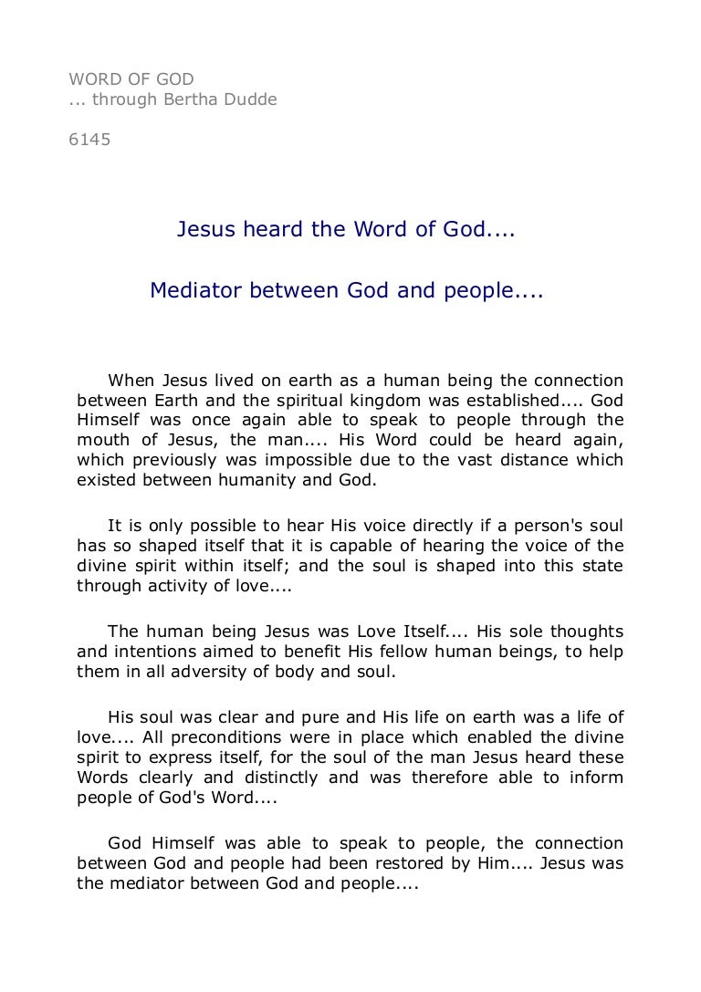 jesus heard the word of god mediator between god and peopl