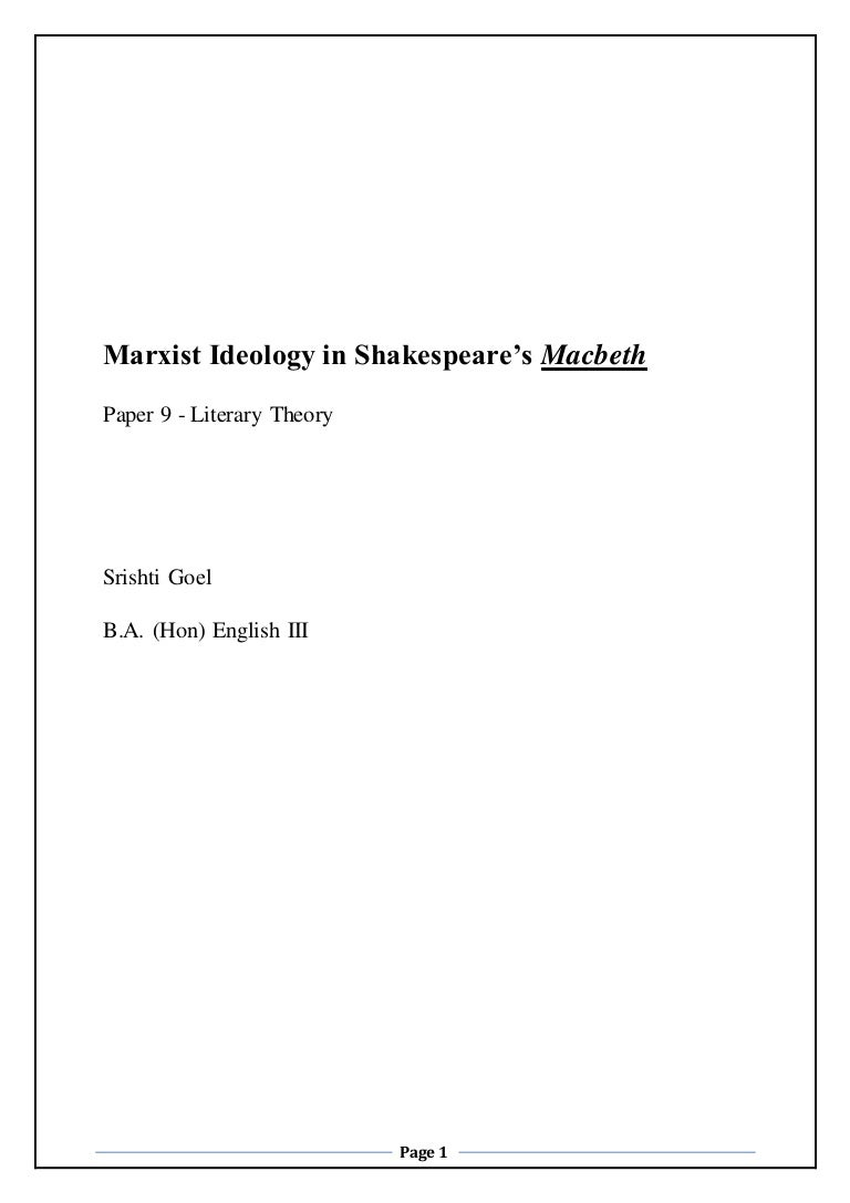 marxist ideology in shakespeare s macbeth