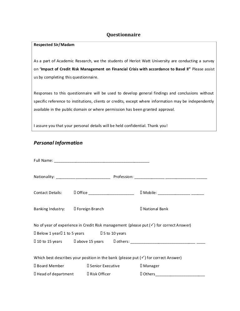 risk questionnaire template