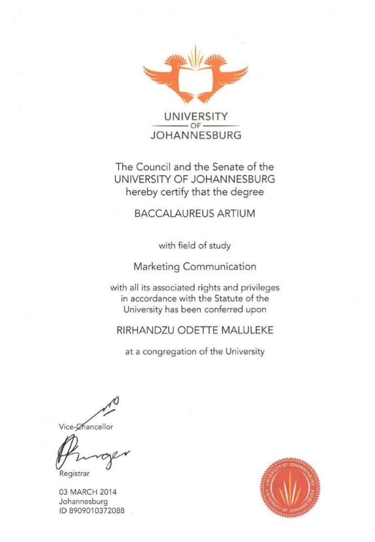 uj certificate