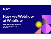 How we Webflow at Webflow - No Code Conf 2019 Demo Theater