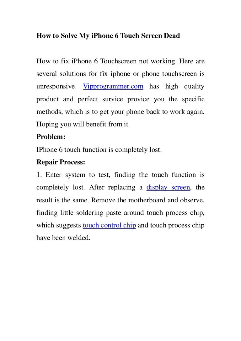 How to Salve My iphone 6 Touch Screen Dead