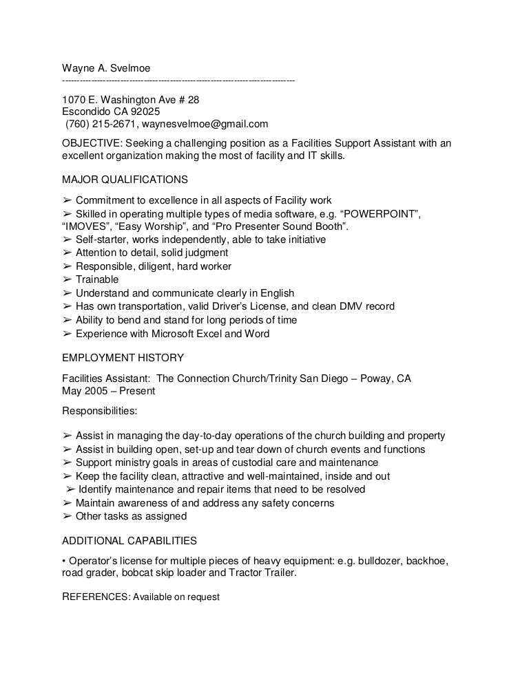 wayne a svelmoe facilities assistant resume