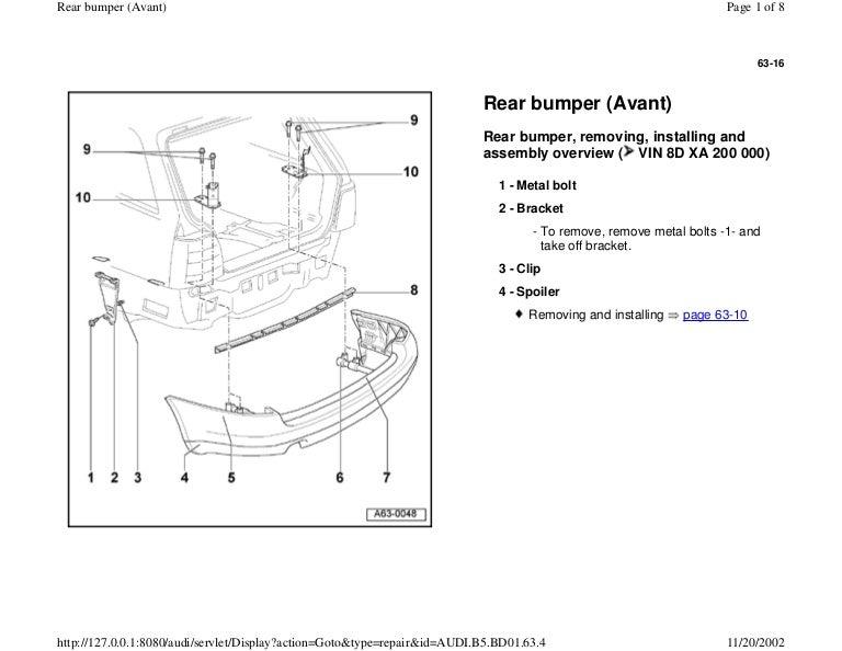 AUDI A4 B5 1.8L 1996 BADY 63 16 rear bumper avant