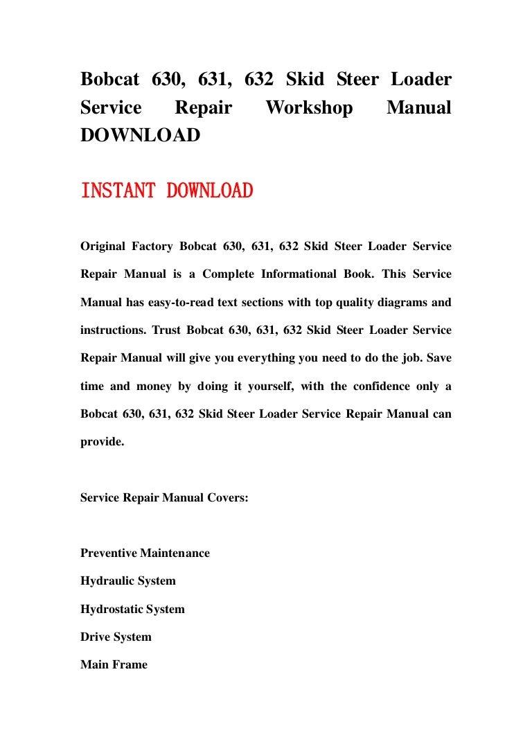 bobcat skid steer loader service repair workshop manual