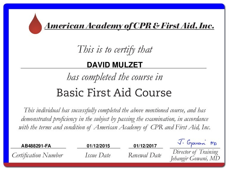Basic First Aid – First Aid Certificate Template