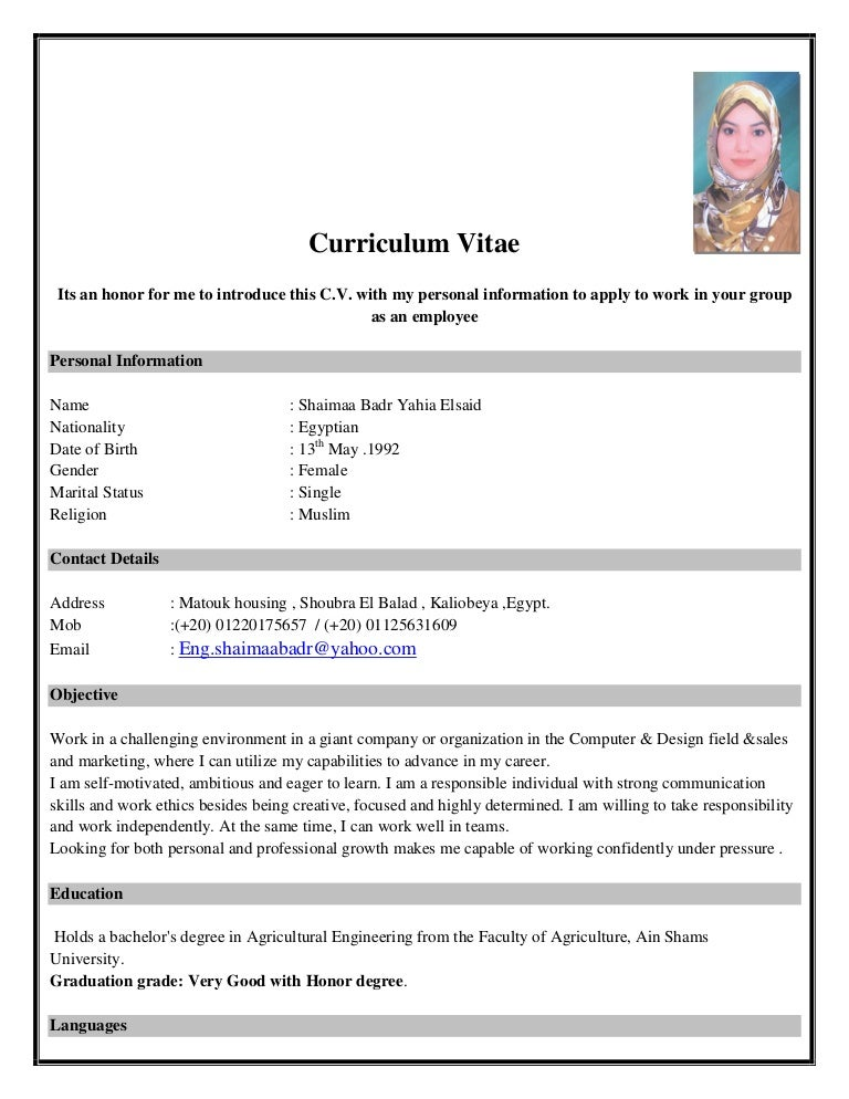 english cv form shaimaa