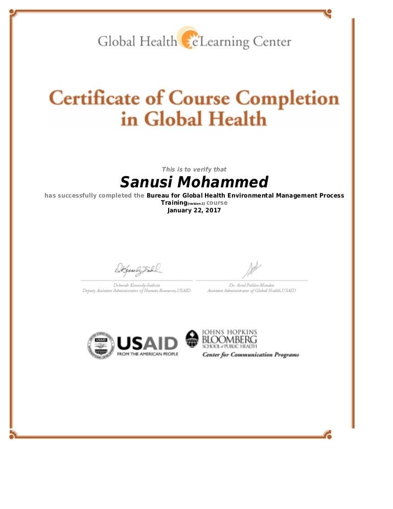 Global Health Elearning Center Certificate Bureau For Global Health