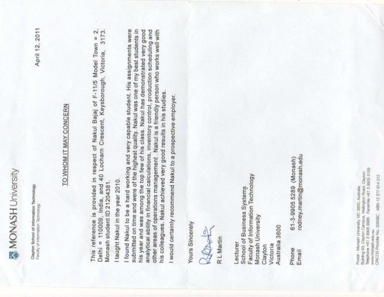 Nakul Bajaj Monash University Letter of Recommendation
