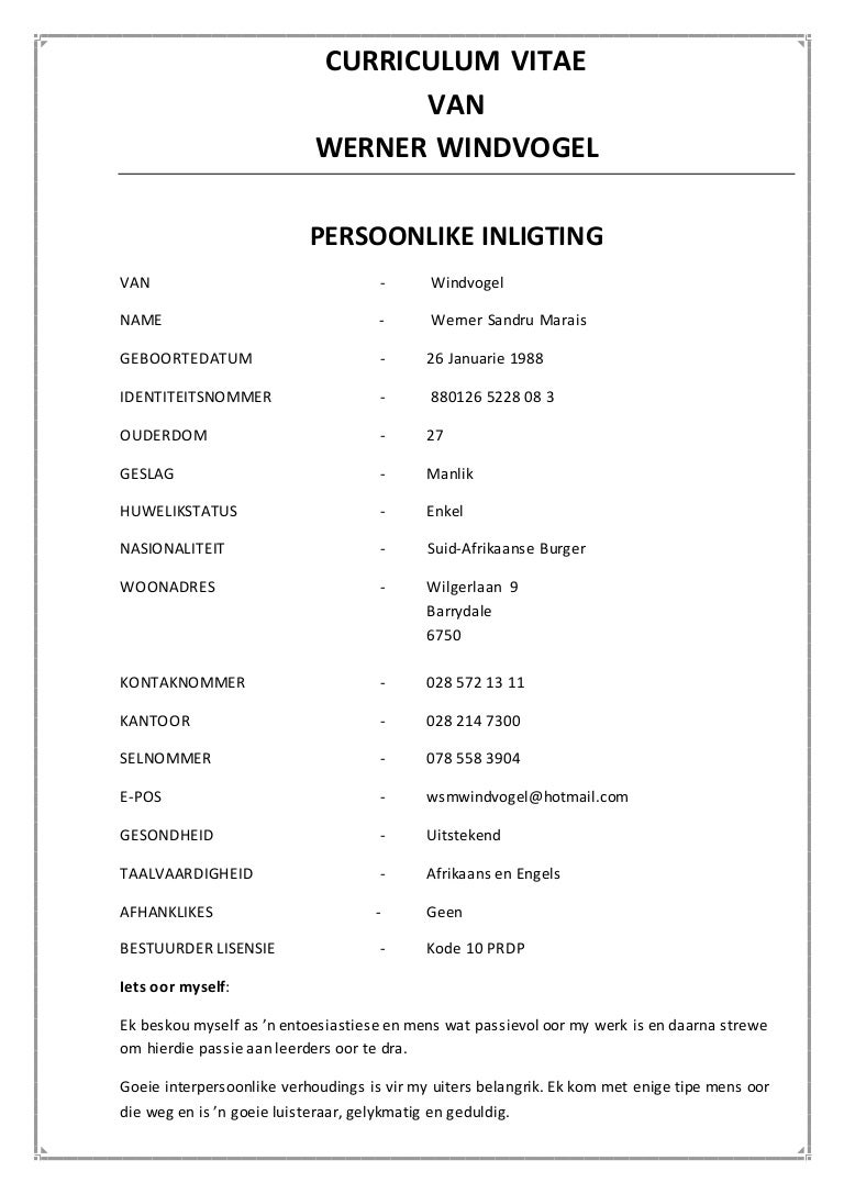Curriculum vitae afrikaans docx for South african cv template download