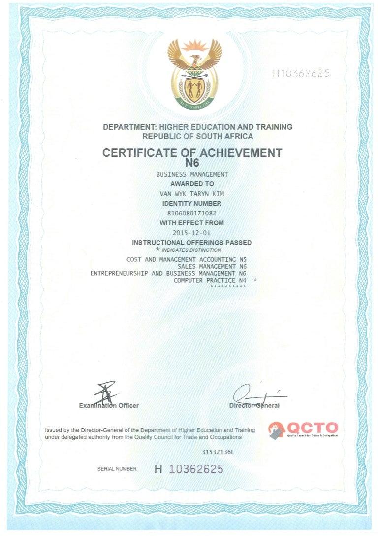 Certificate of achievement n6 xflitez Choice Image