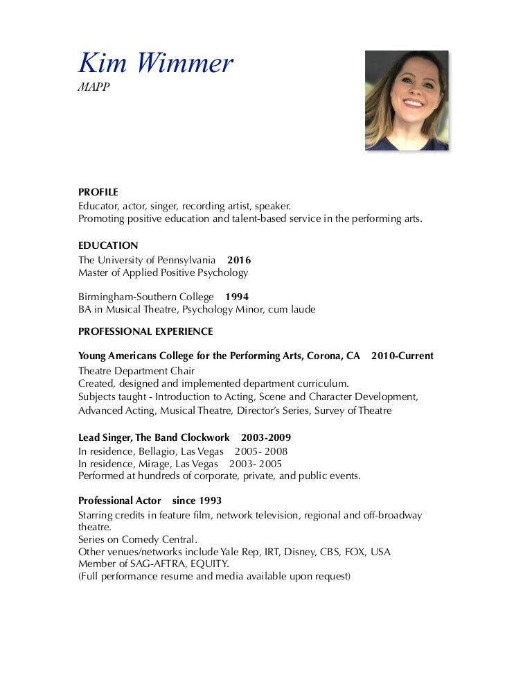 Performance Resume Musical Theater musical resume musical theatre