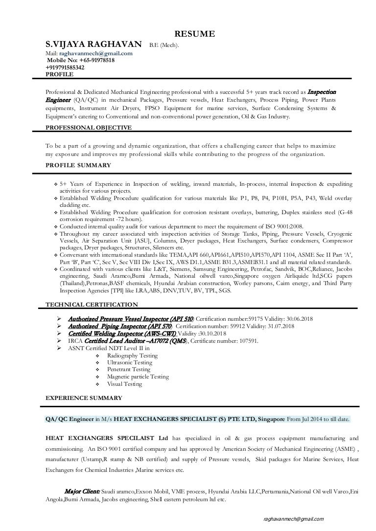Resume of QA QC-Welding Engineer with 5+ years of exp