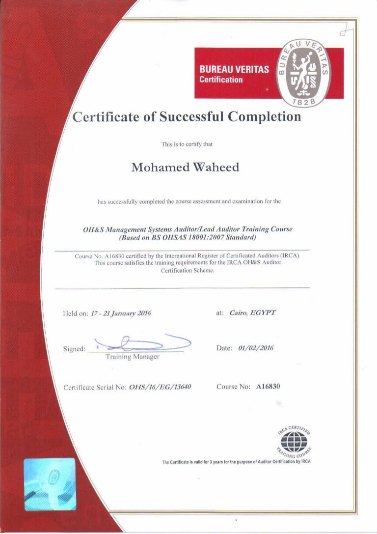 Ohsas 180012007 lead auditor certificate 1betcityfo Choice Image