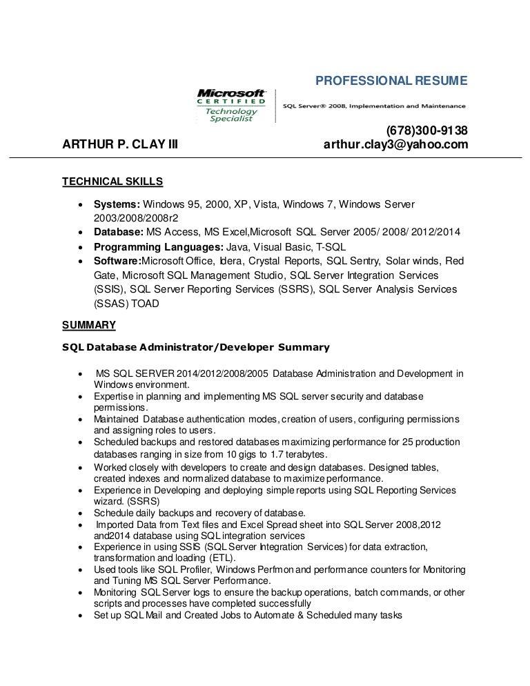 Sql Sample Resume   Resume Format Download Pdf SlideShare