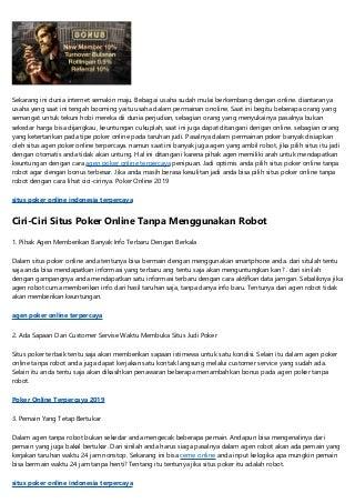 Situs Poker Online Indonesia 2019 Tanpa Robot