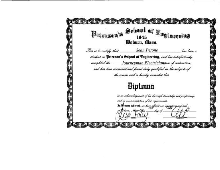 Journeyman Electrician Certificate