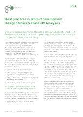 Best Practice in Product Development: Design Studies & Trade-Off Analyses