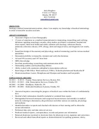 Objective On Resume For Medical School Medical Transcriptionist Objective  On Resume For Medical School Medical Transcriptionist  Medical Transcription Resume